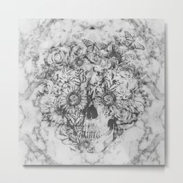 Bookmatched Marble Skull Metal Print