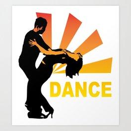 dancing couple silhouette - brazilian zouk Art Print
