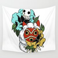 princess mononoke Wall Tapestries featuring Princess Mononoke Mask by Carrie South