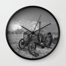Rustic Tractor - Old Tractor in Black and White Wall Clock