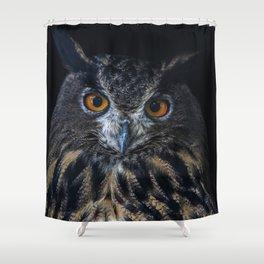 Pretty Eagle Owl portrait Shower Curtain