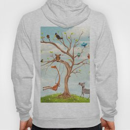 Tree with animals.Bunch of cute little creatures gathered on the branches of tree Hoody