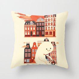 Happy Ghost Biking Through Amsterdam Throw Pillow