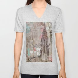 Vintage collage brown pink typography New York Landmark Unisex V-Neck