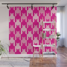 Pink Catstooth Pattern Wall Mural