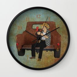 Rooster man and his pick up truck Wall Clock