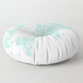 "Light mint watercolor world map, detailed, ""Desie"" Floor Pillow"