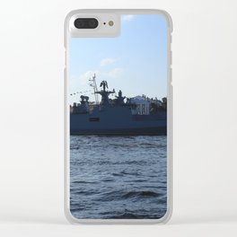 "The military ship ""Admiral Makarov"" 799. The Neva River. Clear iPhone Case"