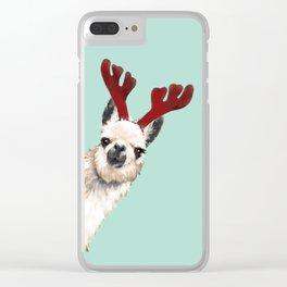 Llama Reindeer in Green Clear iPhone Case