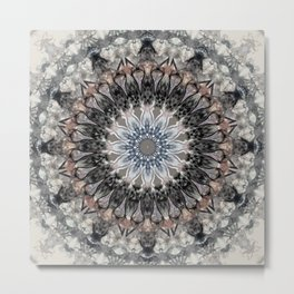Gray, brown Mandala Metal Print