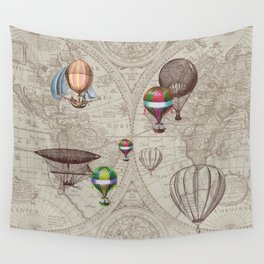 Balloon Festival Brown Wall Tapestry