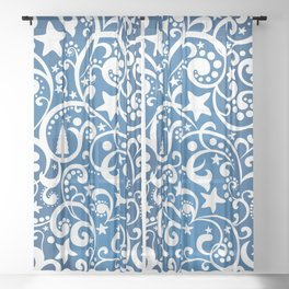 White On Blue Holiday Abstract Floral Design Sheer Curtain