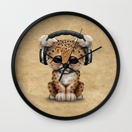 Cute Leopard Cub Dj Wearing Headphones Wall Clock