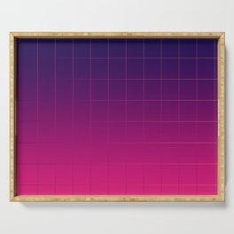 Synthwave Pantone Gradient Grid Lines Serving Tray