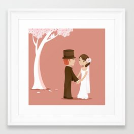 Wedding Under A Pink Tree Framed Art Print