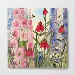 Contemporary Cottage Garden Flower Painting  Metal Print