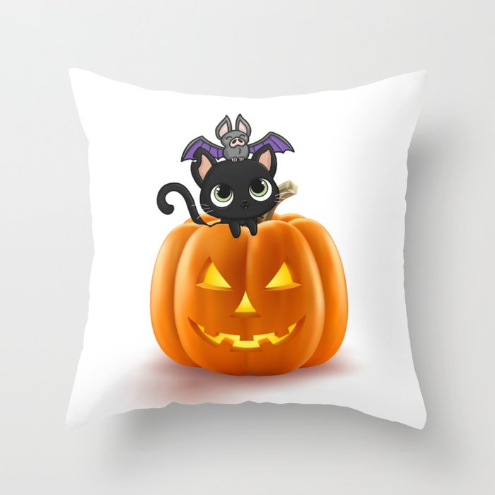 Cute Halloween Cat On Halloween Pumpkins Throw Pillow By Drawfine