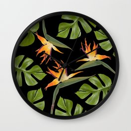Srelitzia and Monstera black Wall Clock