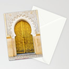 Golden Archway - Ornate Temple Style Door In Fes Morocco - Moroccan Travel Wanderlust Decor - Gold White Cream Peach Neutral Intricate Boho Bohemian Architecture Yoga Studio Decor Stationery Cards