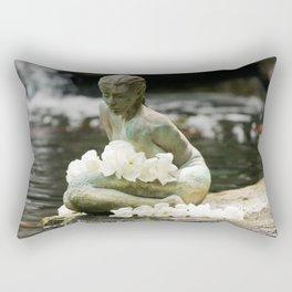 Japanese Woman Statue (Zen Garden with White Flowers) Rectangular Pillow