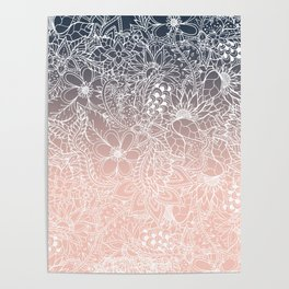 navy blue pastel peach ombre gradient white floral pattern Poster