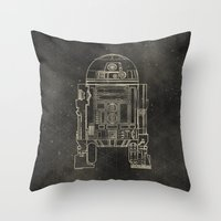 r2d2 Throw Pillows featuring R2D2 by LindseyCowley