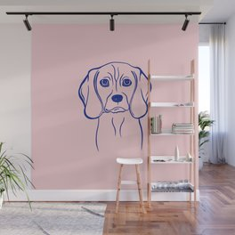 Beagle (Pink and Blue) Wall Mural