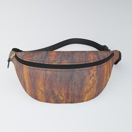 Dark Vertical Wood Planks Wall Fanny Pack