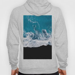 Black sand beach with waves and blue Ocean in Iceland – Minimal Photography Hoody