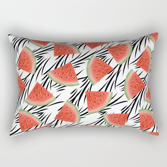 Watermelon slices on white black stripes on the background. Rectangular Pillow