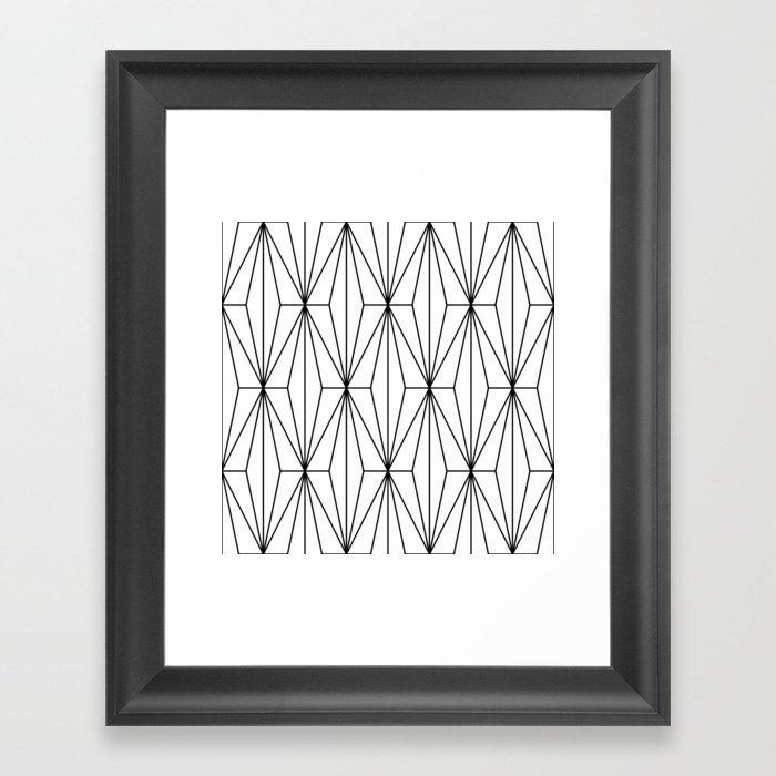 Black White Geometric Pattern Illustration Gerahmter Kunstdruck