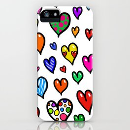 Doodle Hearts iPhone Case