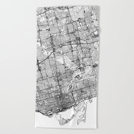 Toronto White Map Beach Towel