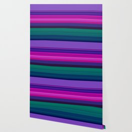 Vibrant Purple Pink and Green Stripes Wallpaper