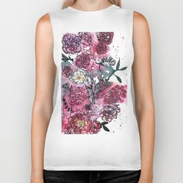 Flower Illustration Biker Tank