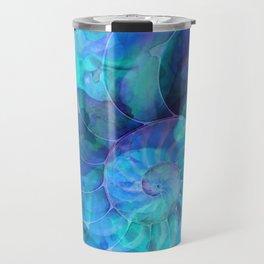 Blue Nautilus Shell - Nature's Perfection by Sharon Cummings Travel Mug