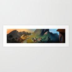 Village Panorama Art Print