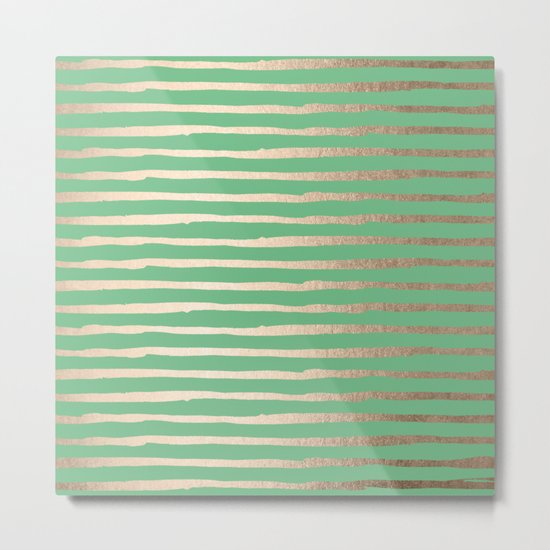 Abstract Stripes Gold Tropical Green Metal Print