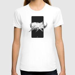 Beetle 1.  White on black background. T-shirt