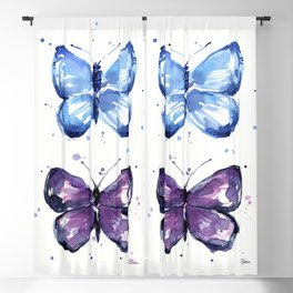 Butterflies Watercolor Blue and Purple Butterfly Blackout Curtain