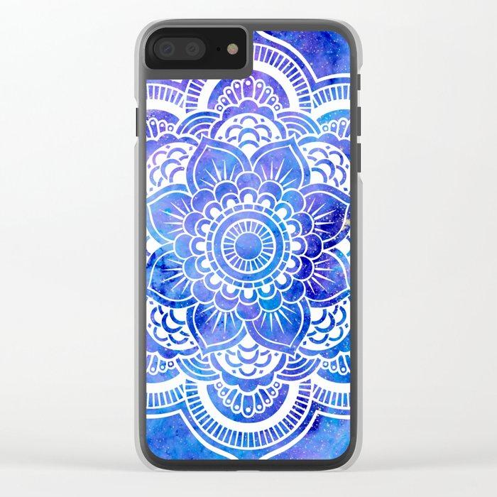Mandala Blue Lavender Galaxy Clear iPhone Case