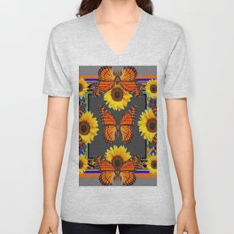 Western Grey & Orange Monarch Butterflies  sunflower Patterns Art For t Unisex V-Neck
