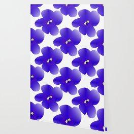 Large Retro Blue Flowers #1 White Background #decor #society6 #buyart Wallpaper