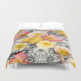 Collage of Poppies and Pattern Duvet Cover