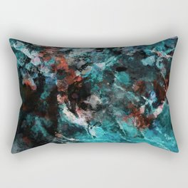 Abstract and Modern Teal Painting Rectangular Pillow