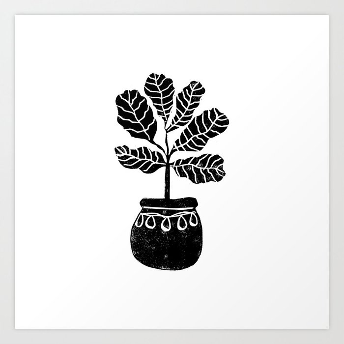 Fiddle Fig Linocut House Plant Lino Print Black And White