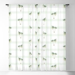 Palm Trees on Green Checkers Blackout Curtain