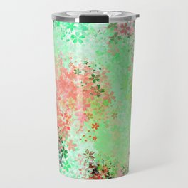 flower pattern abstract background in green pink purple blue Travel Mug