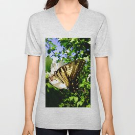 Swallowtail Butterfly Inside Hibiscus Blossom Unisex V-Neck