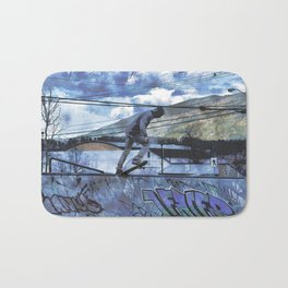 Tipping Point -Skateboarder Launching - Outdoor Sports Bath Mat